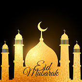 eid festival background with golden mosque