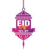Eid Festival Offer Design Template with 50% Discount Tag