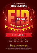 Eid Festival Offer Poster Design Template A4 Size with 50% Discount Tag