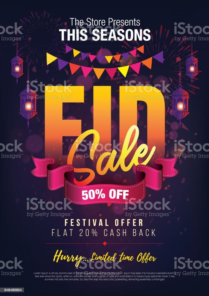Eid Festival Angebot Design Vorlage A4 Postergröße Stock Vektor Art