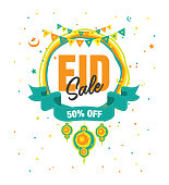 Eid Festival Sale Poster Flyer Background Template Vector Illustration with 50% Discount