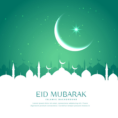 eid greeting background with mosque silhouette in white