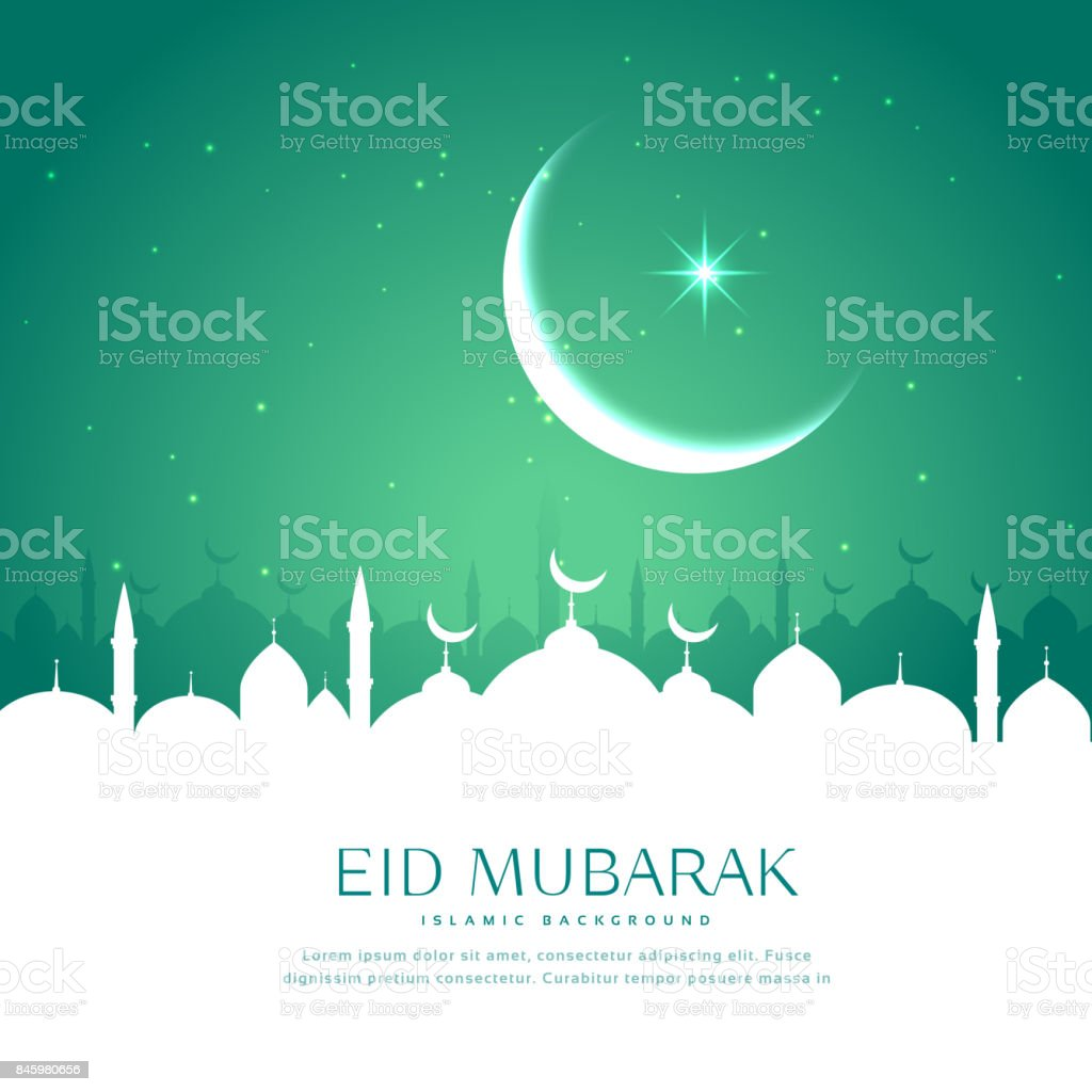 eid greeting background with mosque silhouette in white vector art illustration