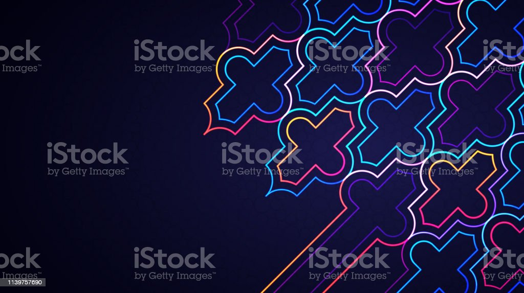 eid mubarak abstract light background with glowing neon