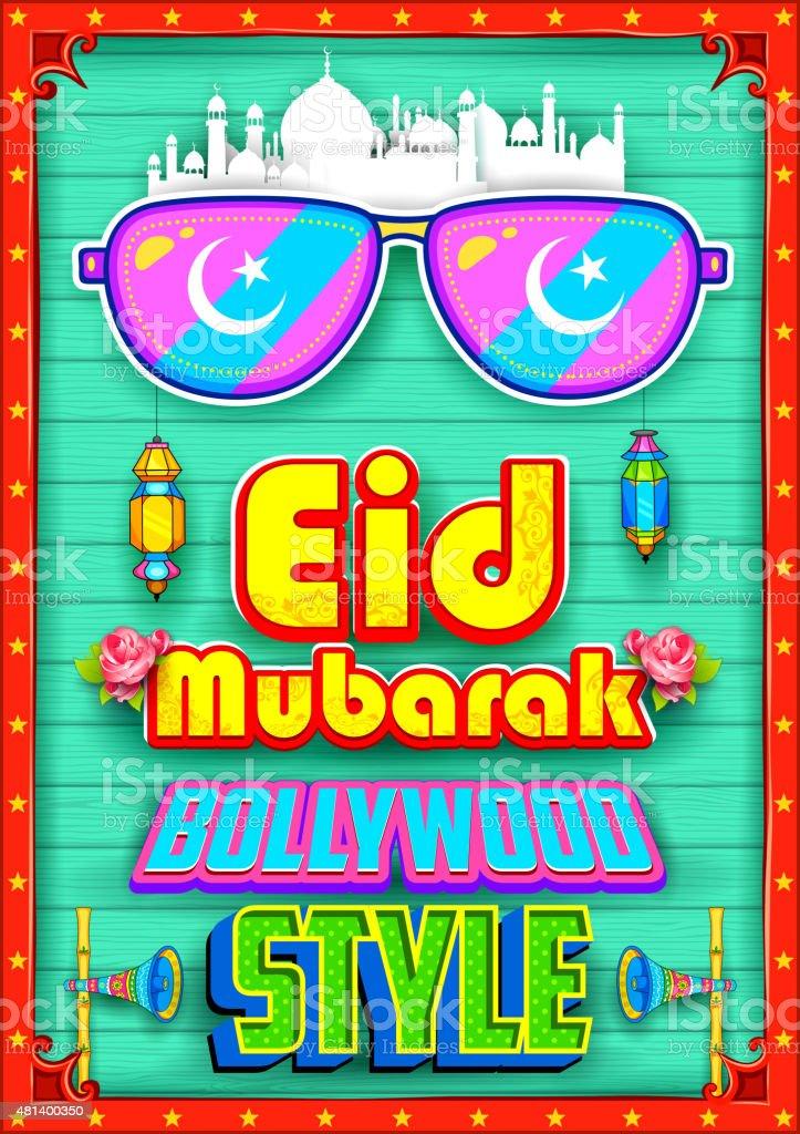 Eid Mubarak (Happy Eid) background Bollywood Style vector art illustration