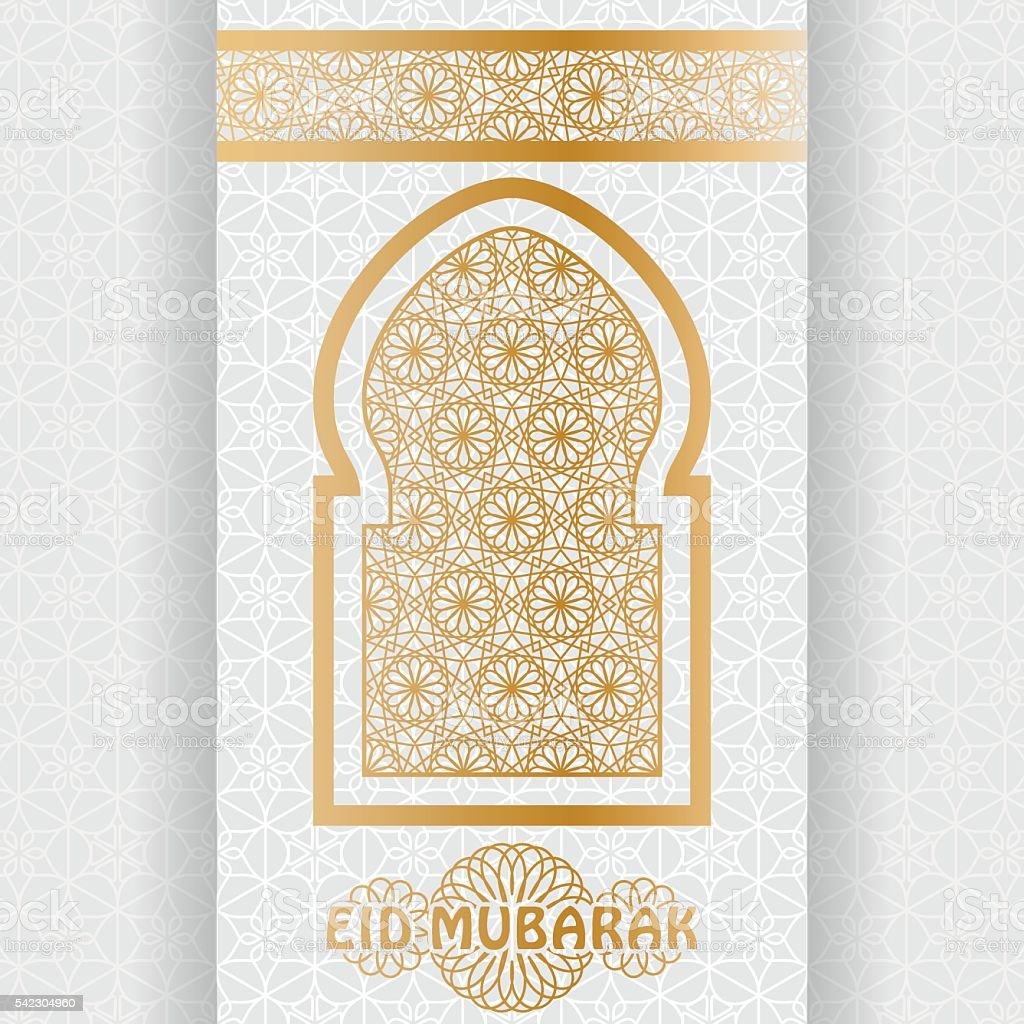 Eid Mubarak Background. Islamic Arabic window. Greeting card vector art illustration