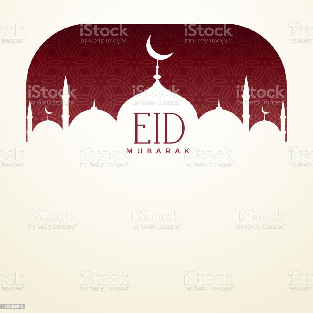 eid mubarak background with mosque and text space vector art illustration