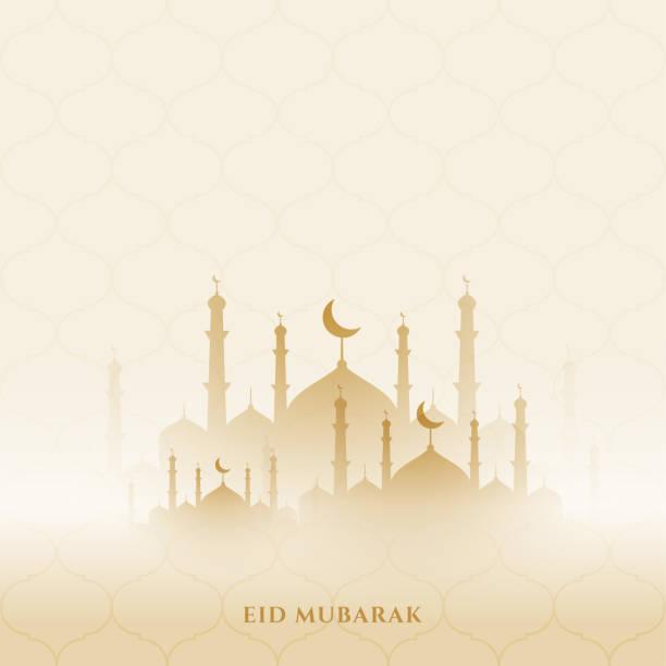 eid mubarak background with mosque design eid mubarak background with mosque design eid mubarak stock illustrations