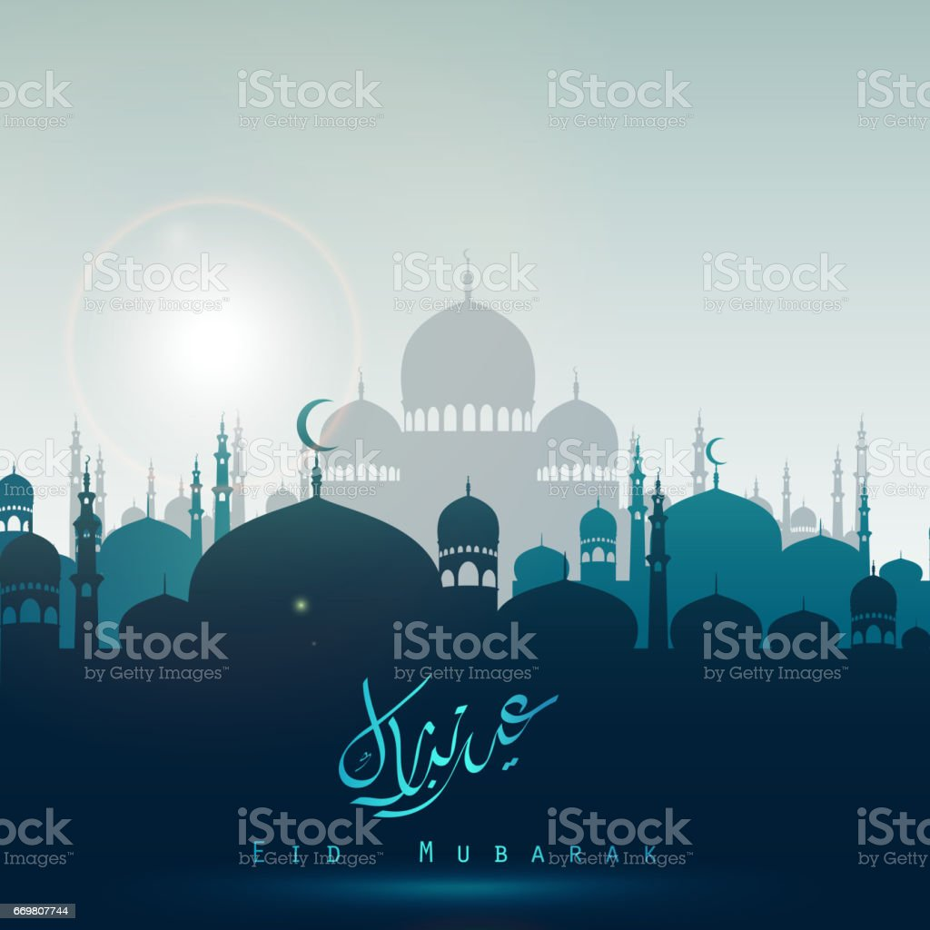 Eid Mubarak background with silhouette mosque in the bright night vector art illustration