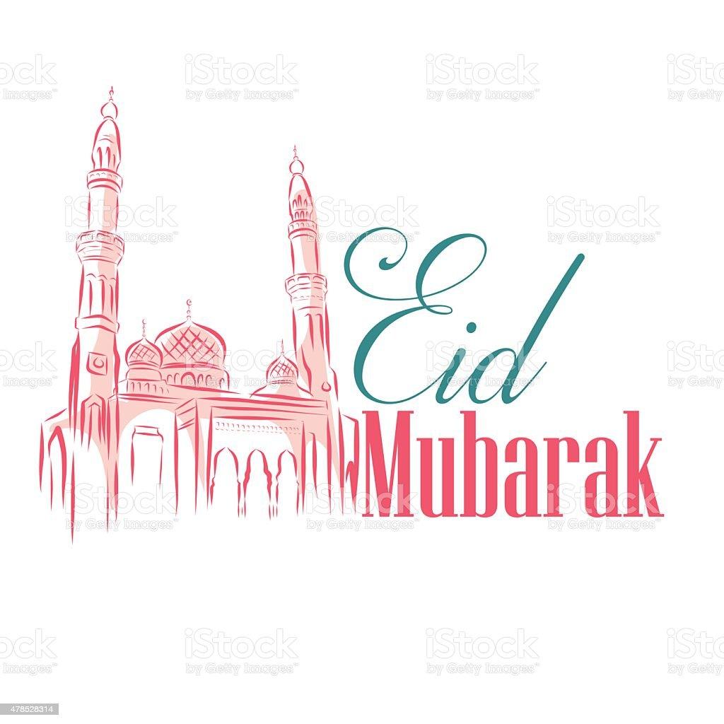 Eid Mubarak con Mezquita de dibujo fondo. Ilustración vectorial - ilustración de arte vectorial