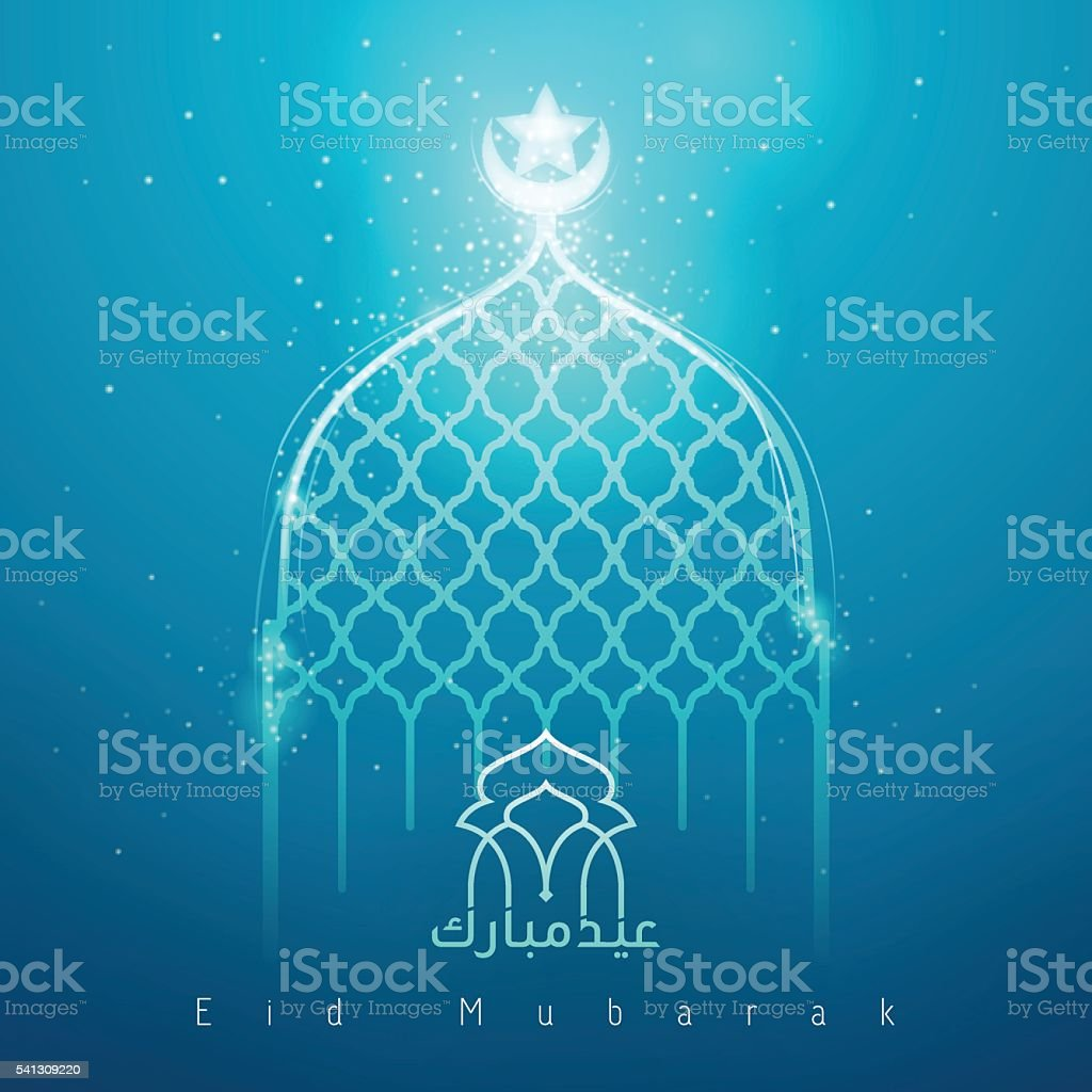 Eid mubarak blue glow mosque islamic greeting vector art illustration
