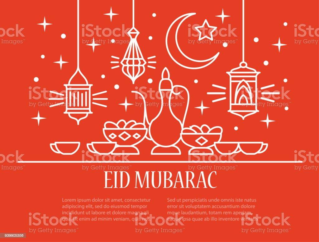 Eid Mubarak card vector art illustration