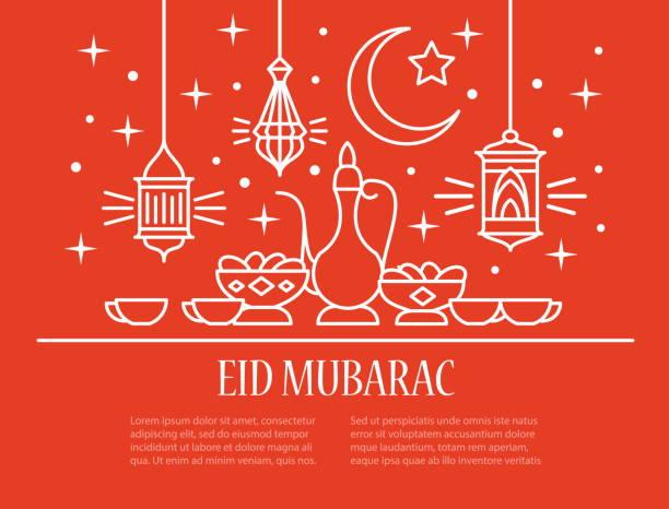 eid mubarak card - eid mubarak stock illustrations, clip art, cartoons, & icons