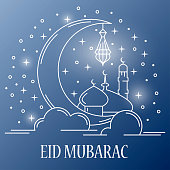 Eid Mubarak card with traditional lamp, mosque and arabic crescent in linear style on blue background. Vector illustration
