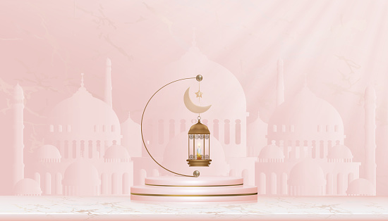 Eid Mubarak card,Traditional islamic lantern, candles and crescent moon hanging on podium with Mosque background,Vector of Religions of Muslim Symbolic for Ramadan Kareem, Aid el fitre, Eid al adha