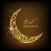 Eid Mubarak celebration with golden moon.