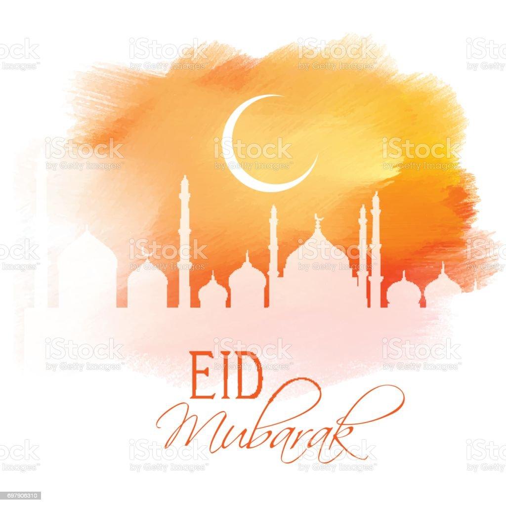 Eid Mubarak design on watercolour texture vector art illustration