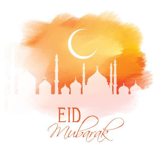 eid mubarak design on watercolour texture - eid mubarak stock illustrations