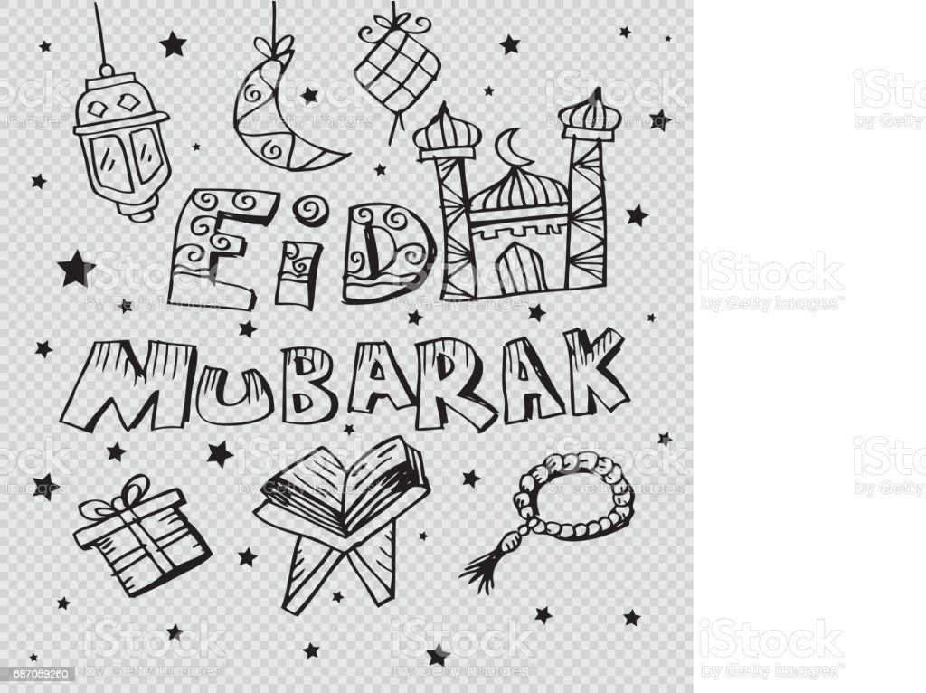 Eid mubarak doodle background