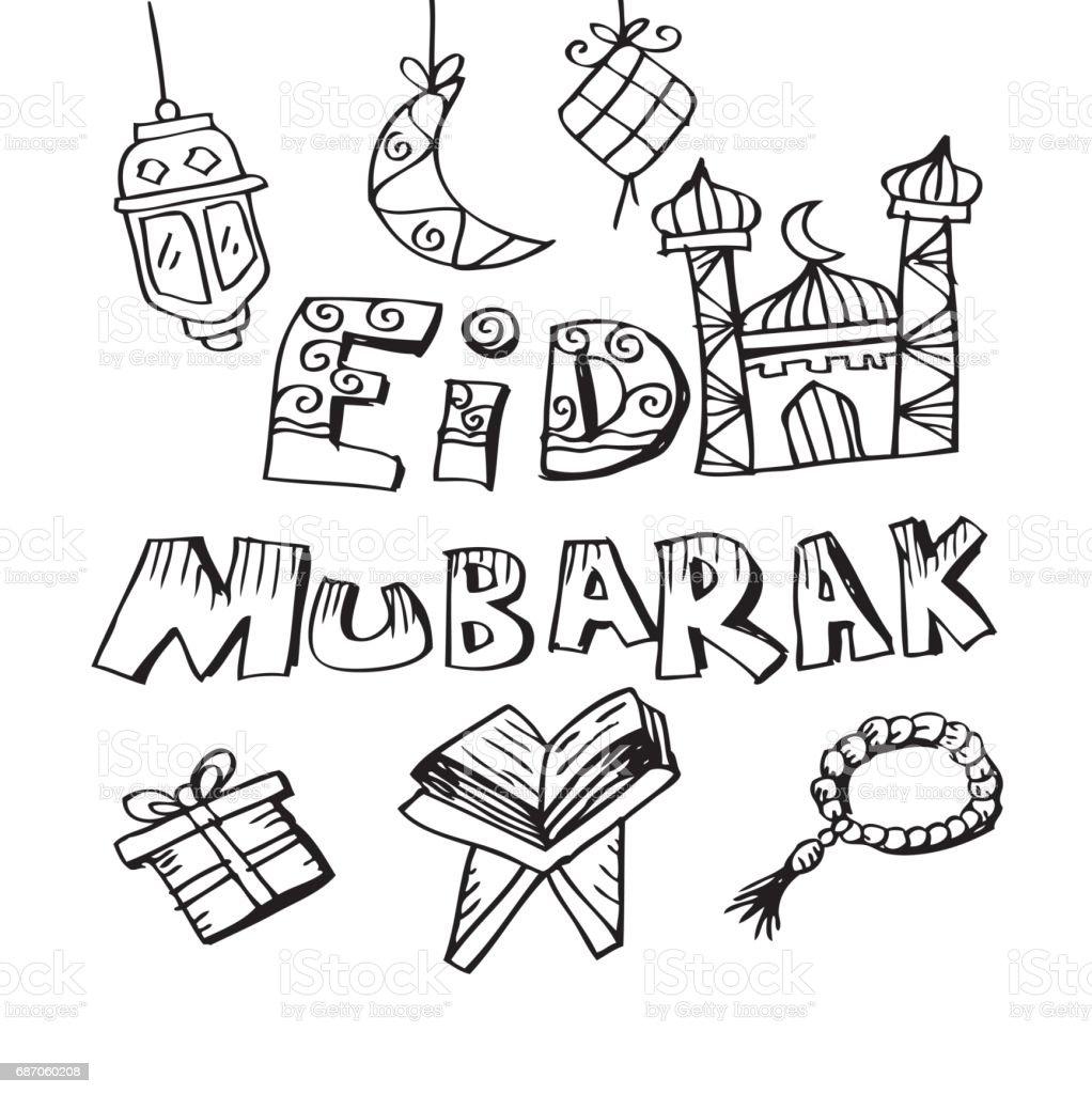 Eid mubarak doodle background vector art illustration
