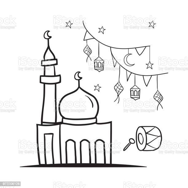 Eid Mubarak Doodle Stock Illustration Download Image Now Istock