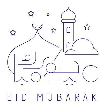 Eid Mubarak greeting background editable line arabic calligraphy and mosque illustration