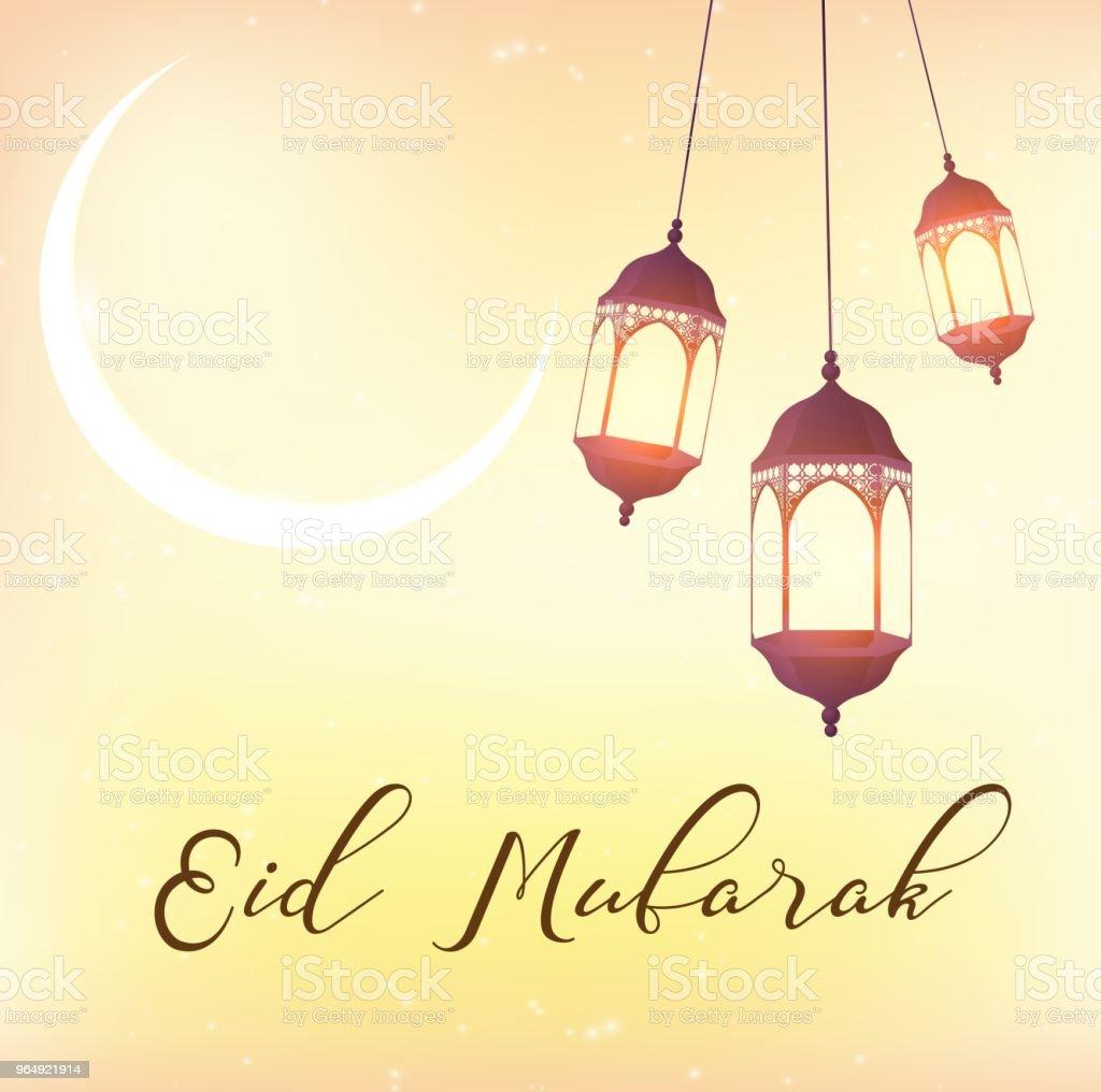 Eid Mubarak Greeting Background With Beautiful Illuminated Arabic