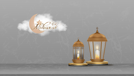 Eid Mubarak greeting card background with Crescent Moon, Star and Traditional islamic lantern on Podium.Vector Backdrop of Religions of Muslim Symbolic for Ramadan Kareem,Aid el fitre and el adha