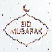 Eid Mubarak greeting card design. A large group of people form to create the shape of Eid Mubarak. Islamic design concept.Vector illustration.