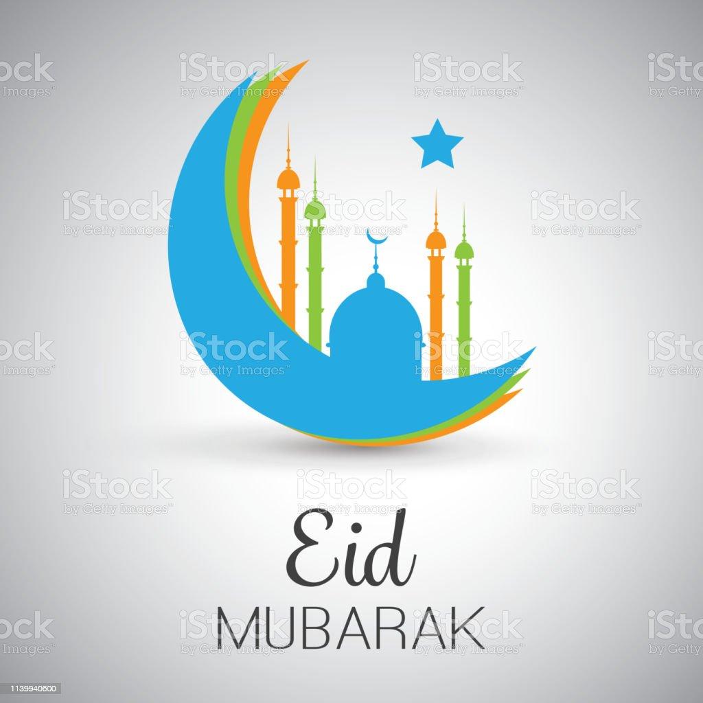 eid mubarak greeting card design stock illustration