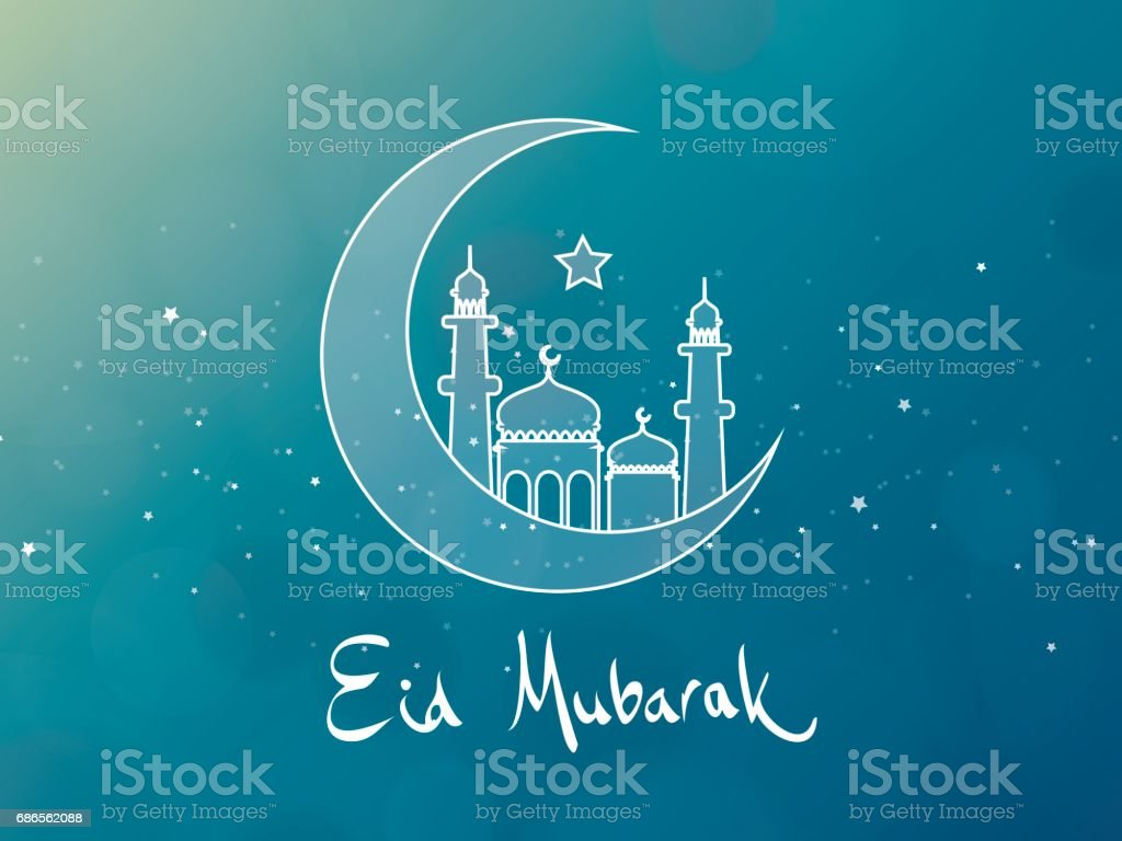 Eid Mubarak Greeting Card Design vector art illustration