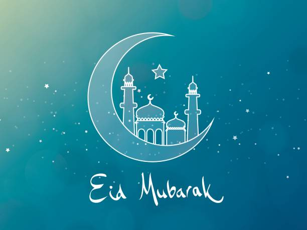 stockillustraties, clipart, cartoons en iconen met eid mubarak wenskaart design - suikerfeest