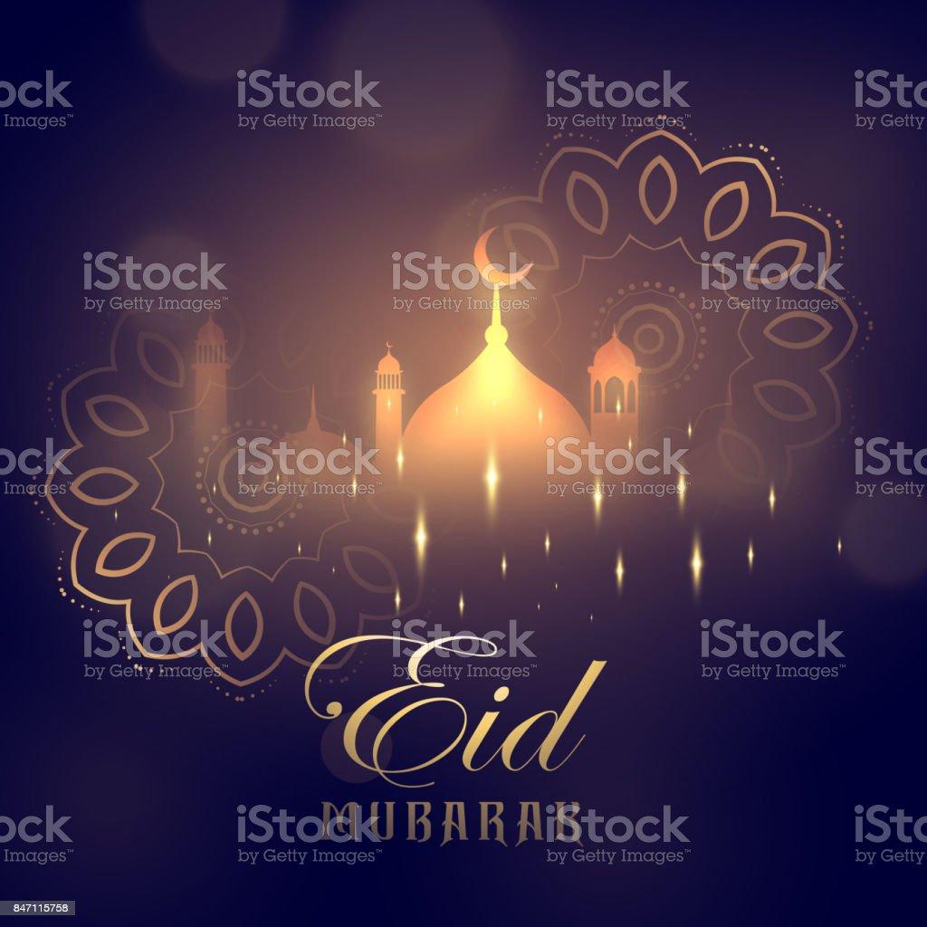 eid mubarak greeting card design with glowing mosque and mandala decoration vector art illustration
