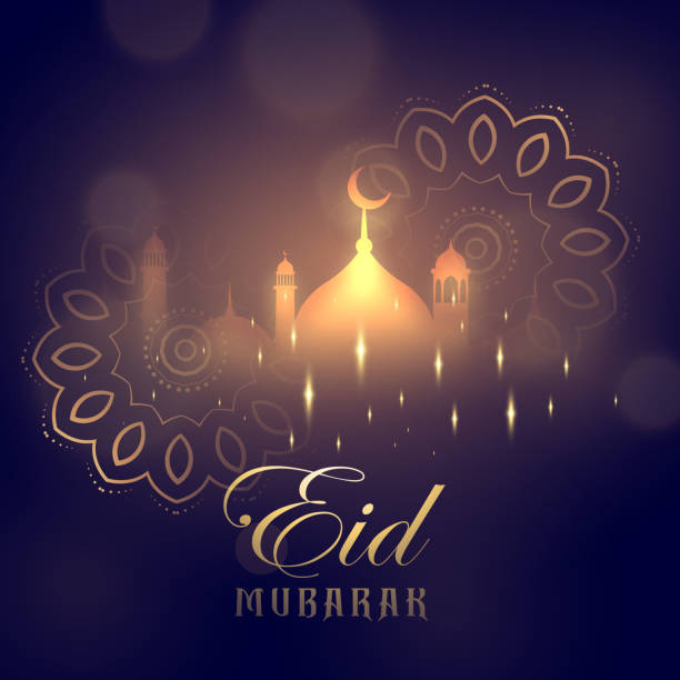 eid mubarak greeting card design with glowing mosque and mandala decoration - eid mubarak stock illustrations