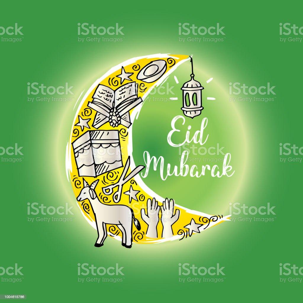 Eid Mubarak Greeting Card In Cartoon Doodle Style Stock Vector Art
