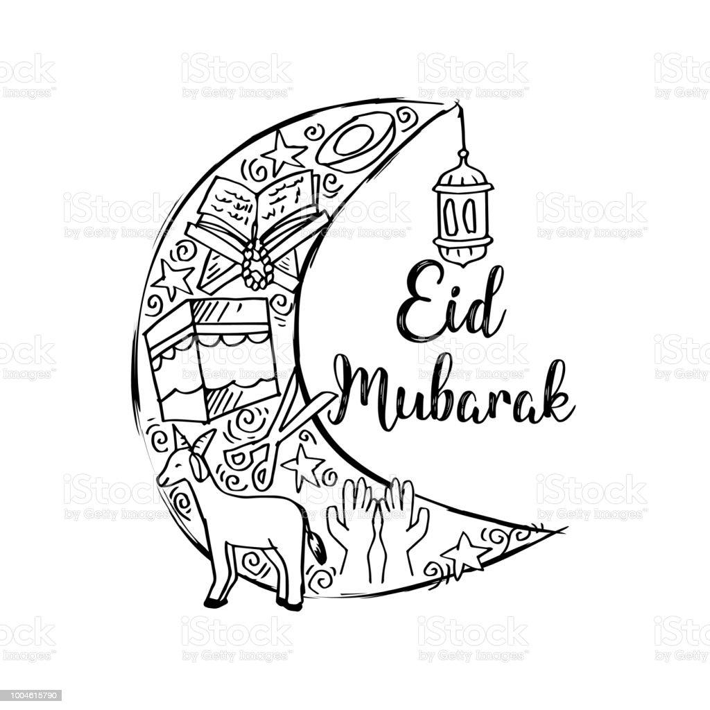 Eid mubarak greeting card in cartoon doodle style stock vector art eid mubarak greeting card in cartoon doodle style royalty free eid mubarak greeting card in m4hsunfo