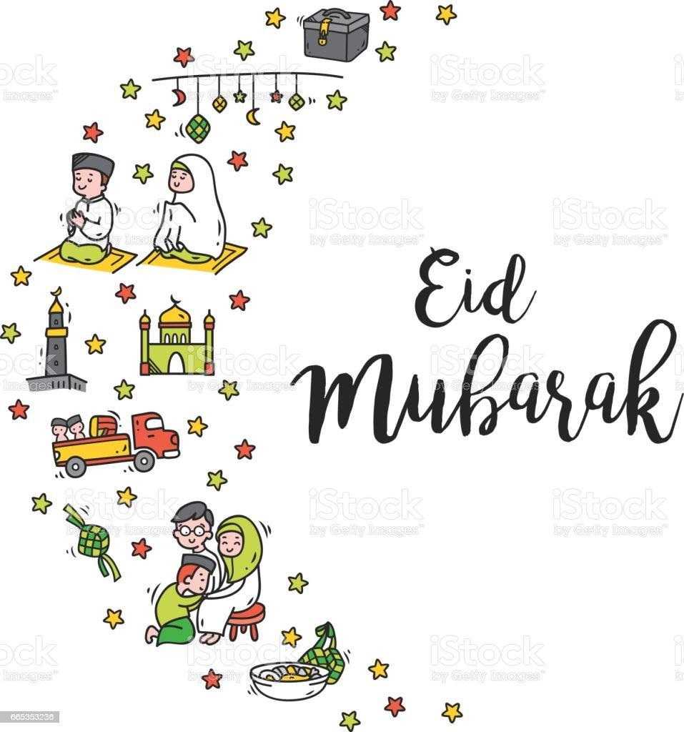 Eid mubarak greeting card in cute cartoon doodle style stock vector eid mubarak greeting card in cute cartoon doodle style royalty free eid mubarak greeting card m4hsunfo