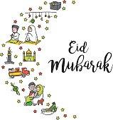Eid mubarak greeting card in cute cartoon doodle style