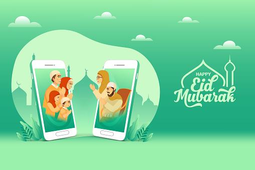 Eid mubarak greeting card. muslim family blessing Eid mubarak to grandparents through smart phone screens using video call during Covid-19 pandemic