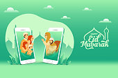 Eid, mubarak, greeting card, banner, video call, covid-19