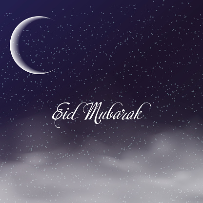 Eid Mubarak Greeting Card With Crescent And Clouds In Sky Vector