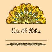 Illustration of Eid Al Adha greeting card with round ornate mandala ornament. Muslim holiday background template