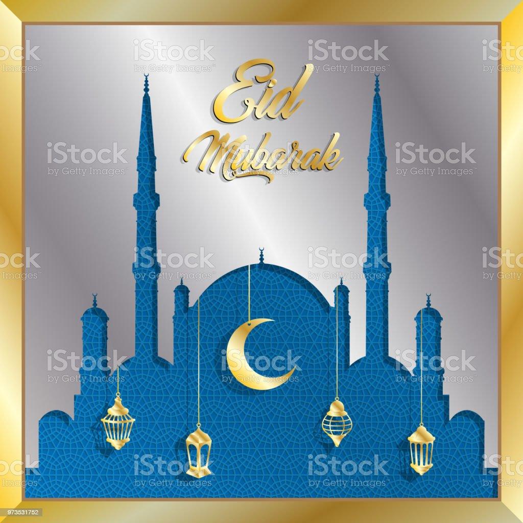 Eid Mubarak Grusskarte mit Silber Moschee und gold Laternen – Vektorgrafik
