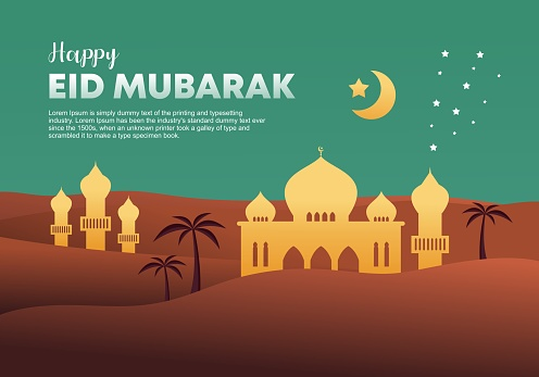 Eid mubarak greeting design. Flat style Grand Mosque decoration background. Vector Illustration. Template with desert and moon.