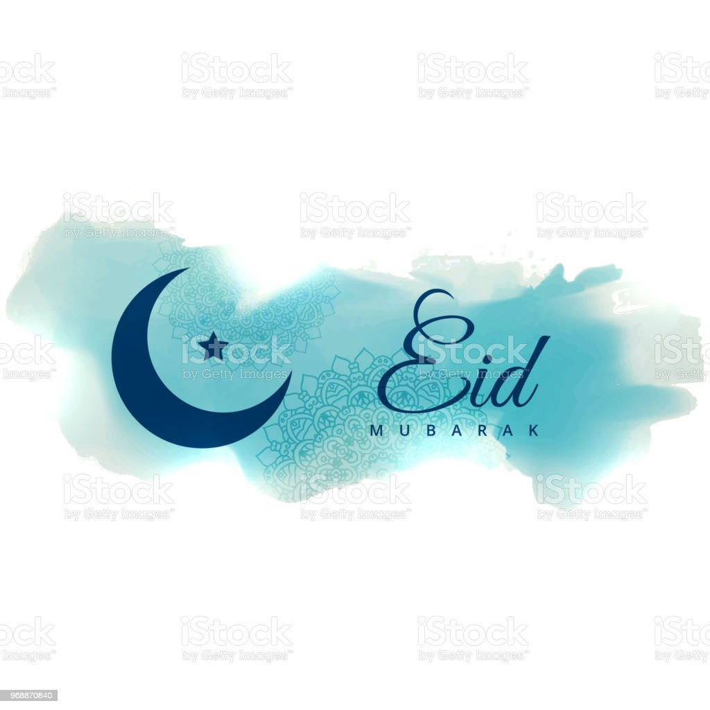 eid mubarak greeting with blue watercolor banner vector art illustration