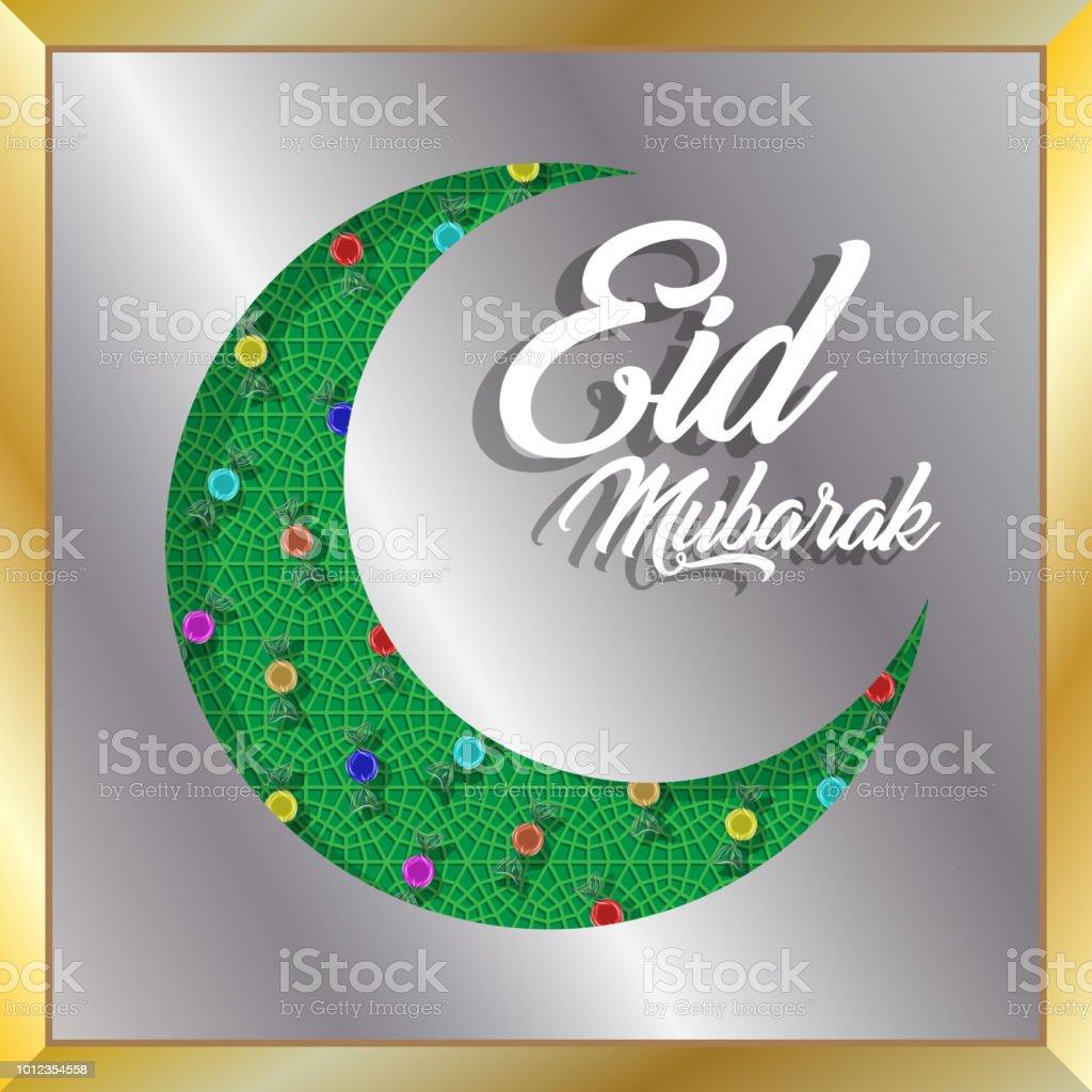 Eid Mubarak Gruß mit Halbmond und Bonbons für muslimischen Feiertag – Vektorgrafik