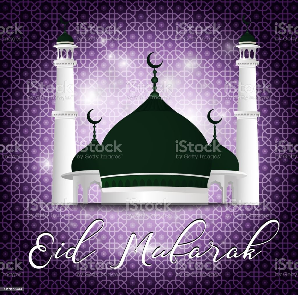 Eid Mubarak greeting with mosque on purple background vector art illustration