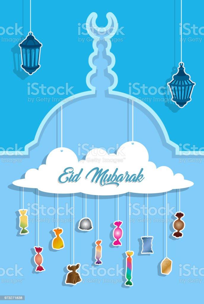 Eid Mubarak Gruß mit Papier ausgeschnitten Bonbons – Vektorgrafik