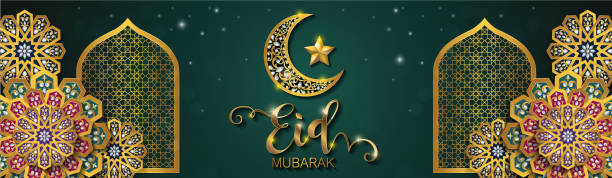 eid mubarak greetings background islamic with gold patterned and crystals on paper color background. - eid mubarak stock illustrations, clip art, cartoons, & icons
