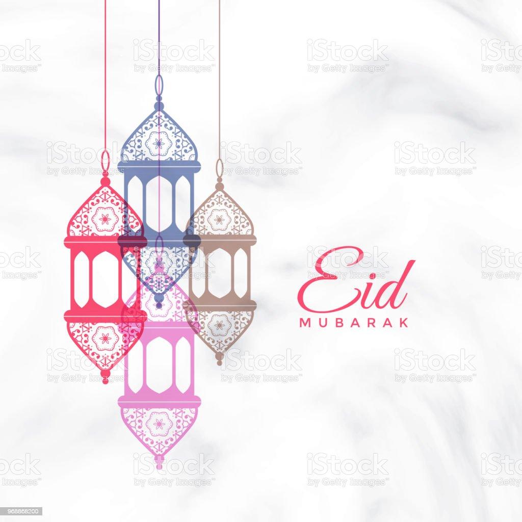 eid mubarak hanging lamps greeting vector art illustration